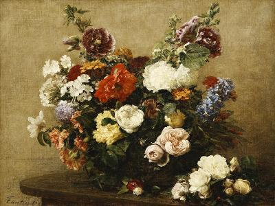 Various Flowers and Roses in a Basket, a Bouquet of Roses on the Table-Henri Fantin-Latour-Giclee Print