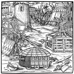 Various Forms of Siege Equipment, Including Battering Rams, 1547