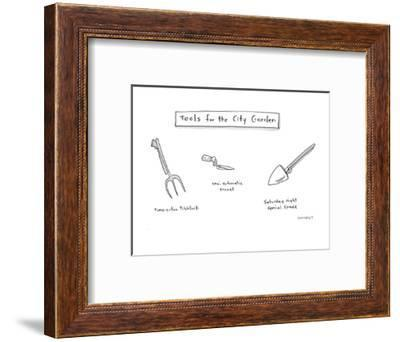 Various gardening tools for city-dwellers. - Cartoon-Liza Donnelly-Framed Premium Giclee Print