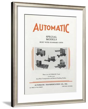 Various Images of Automatic Transportation Company's Automatic Special Models Built with Standard U--Framed Giclee Print