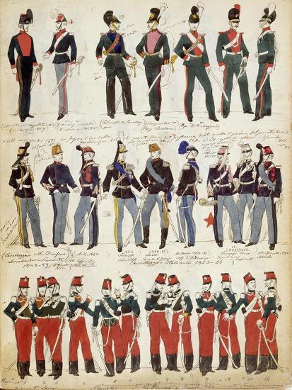 Various Italian Uniforms in Common Use around 1860--Giclee Print