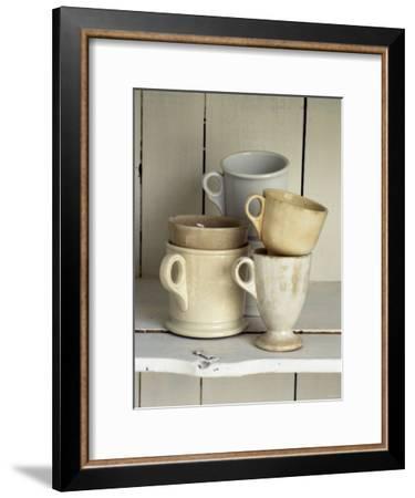 Various Light Coloured Cups on Wooden Shelf-Ellen Silverman-Framed Photographic Print