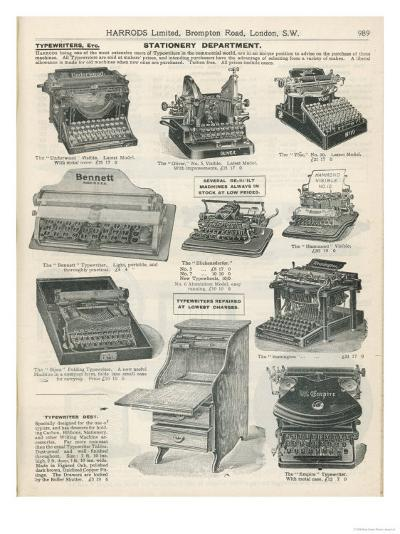 Various Models of Typewriter Obtainable from Harrods--Giclee Print