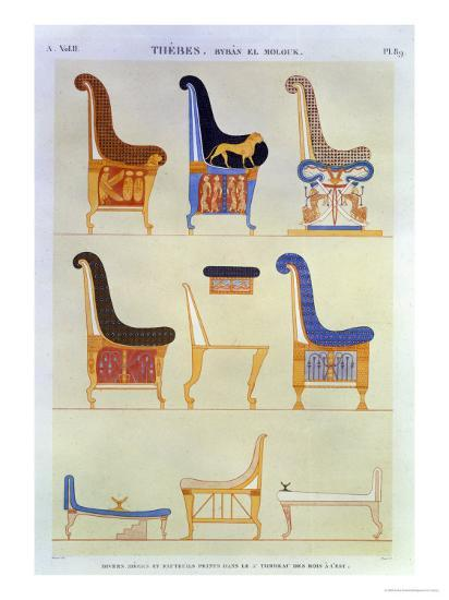 Various Painted Seats and Armchairs, 5th Tomb: Kings at the East, Byban El Molouk, c.1822-Andre Dutertre-Giclee Print