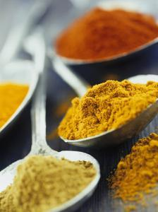Various Spices on Spoons
