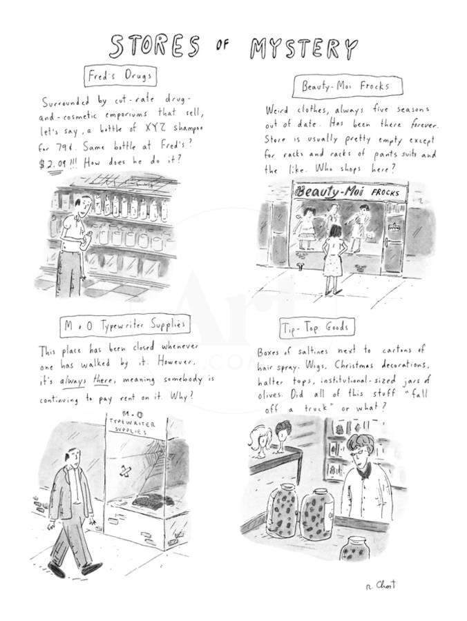 f9d36510c04ec2 Various stores and the merchandise they sell. - New Yorker CartoonBy Roz  Chast