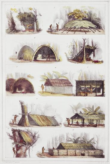Various Types of Brazilian Huts, Engraving from Picturesque and Historic Voyage to Brazil-Jean-Baptiste Debret-Giclee Print