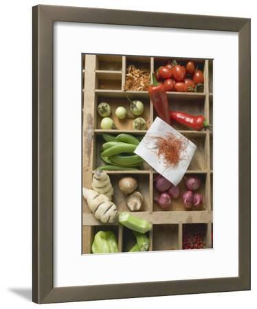 Various Types of Vegetables, Spices and Mushrooms in Type Case
