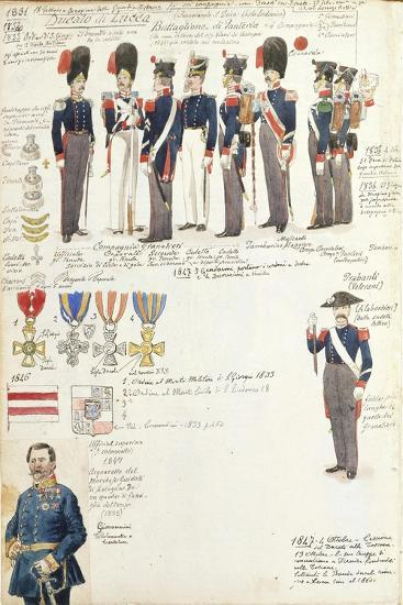 Various Uniforms of Duchy of Lucca, Color Plate, 1831-1847--Giclee Print