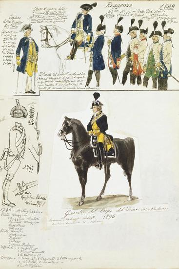 Various Uniforms of Duchy of Modena, Color Plate, 1796-1799--Giclee Print