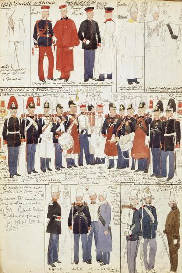 Various Uniforms of Duchy of Parma, 1850--Giclee Print