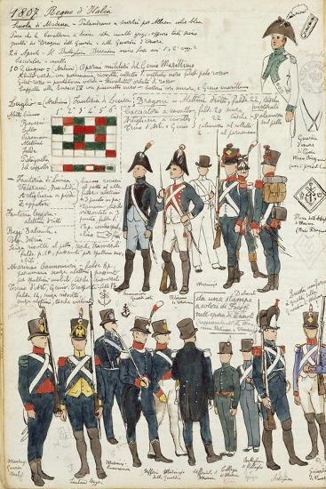 Various Uniforms of the Kingdom of Italy from 1807--Giclee Print