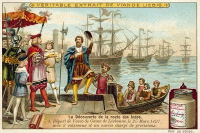 Vasco Da Gama Leaving Lisbon with Three Ships Loaded with Provisions, 25 March 1497--Giclee Print