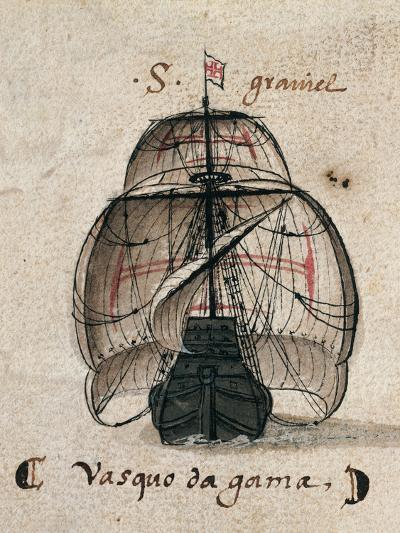 Vasco Da Gama's Caravel, Illustration from 'Memorias Das Armadas', C.1568--Giclee Print