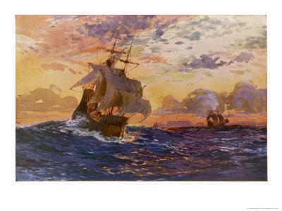 Vasco Da Gama's Ships off the Coast of Africa on Their Way to the Indies-O. Rosenvinge-Giclee Print