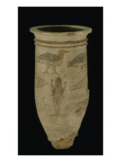 Vase d'Ishtar à décor animalier gravé : figures d'Ishtar, oiseaux, poisson, tortue, bison--Giclee Print