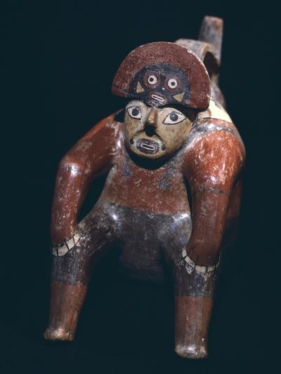 Vase in the Form of a Man Sitting with a Mask on His Head, Artifact Originating from Nazca--Giclee Print