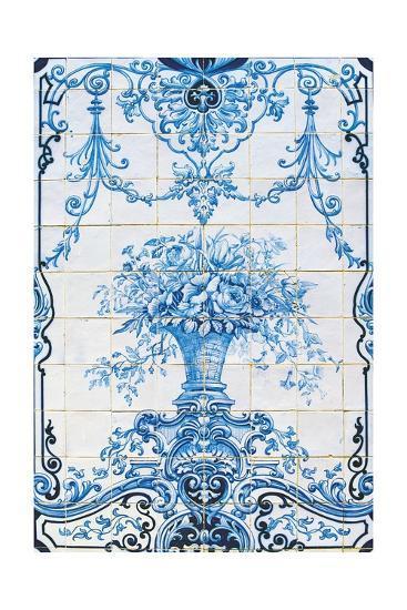 Vase of Flowers, Azulejos Tiles, Estoi Palace--Giclee Print