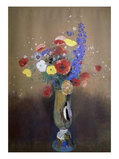 Vase of Flowers from a Field-Odilon Redon-Giclee Print