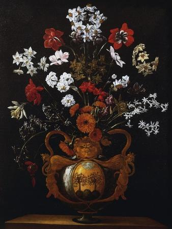 Vase of Flowers with the Coat of Arms of Cardinal Poli-Giacomo Recco-Giclee Print