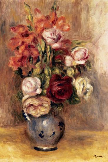 Vase of Gladiolas and Roses-Pierre-Auguste Renoir-Poster