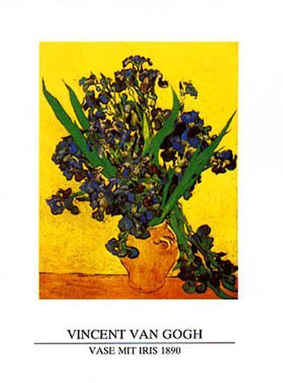 Vase of Irises Against a Yellow Background, c.1890-Vincent van Gogh-Art Print