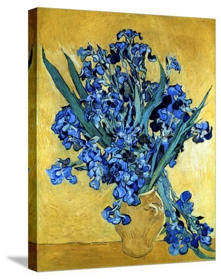 Vase Of Irises Against A Yellow Background C1890 Brushstroked