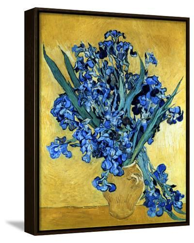 Vase of Irises Against a Yellow Background, c.1890-Vincent van Gogh-Framed Canvas Print