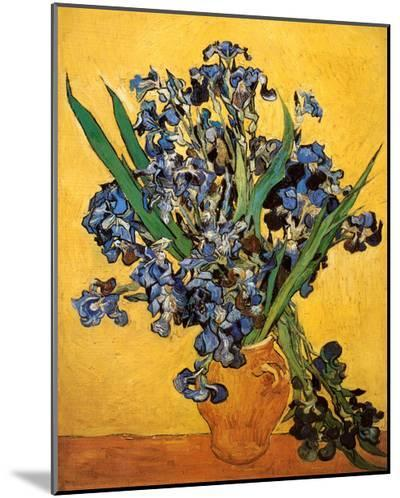 Vase of Irises Against a Yellow Background, c.1890-Vincent van Gogh-Mounted Print
