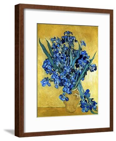 Vase of Irises Against a Yellow Background, c.1890-Vincent van Gogh-Framed Premium Giclee Print