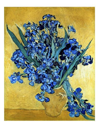 Vase of Irises Against a Yellow Background, c.1890-Vincent van Gogh-Giclee Print