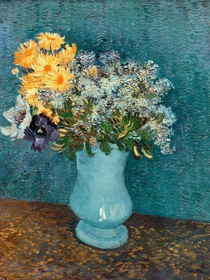 Vase of Lilacs, Daisies and Anemones, c.1887-Vincent van Gogh-Giclee Print