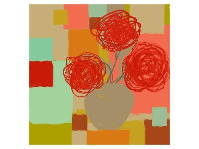 Vase of Red Flowers II-Yashna-Art Print