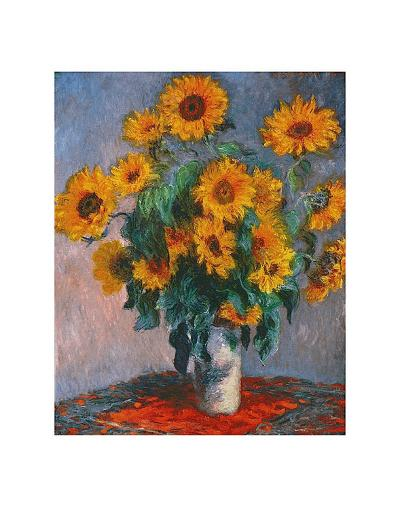 Vase of Sunflowers-Claude Monet-Art Print
