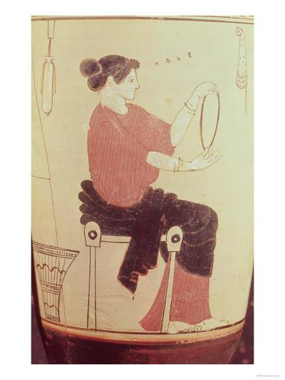 Vase or Lekythos, Detail of a Seated Woman, Attributed to the Villa Giulia Painter, Greek--Giclee Print