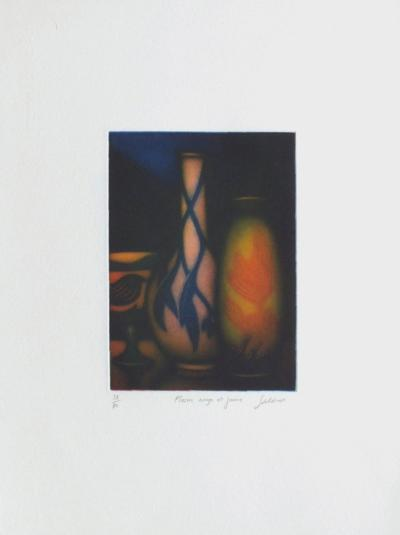 Vase rouge et jaune-Laurent Schkolnyk-Limited Edition