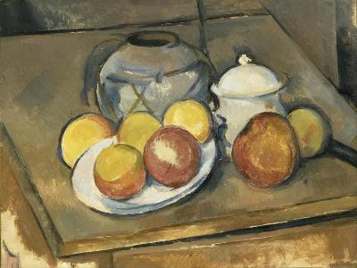 Vase, Sugar Bowl and Apples-Paul C?zanne-Giclee Print