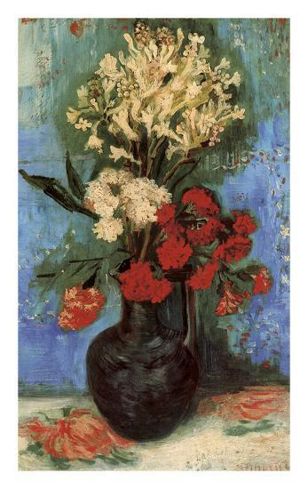 Vase with Carnations and Other Flowers, 1886-Vincent van Gogh-Art Print