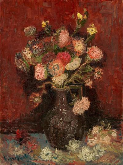 Vase with Chinese Asters and Gladioli-Vincent van Gogh-Giclee Print
