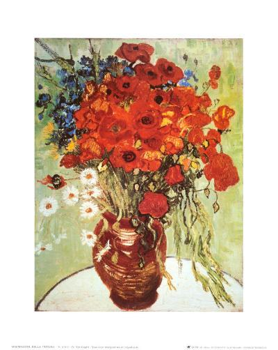 Vase with Daisies and Poppies-Vincent van Gogh-Art Print