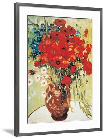 Vase with Daisies and Poppies-Vincent van Gogh-Framed Art Print