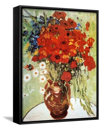 Vase with Daisies and Poppies-Vincent van Gogh-Framed Canvas Print