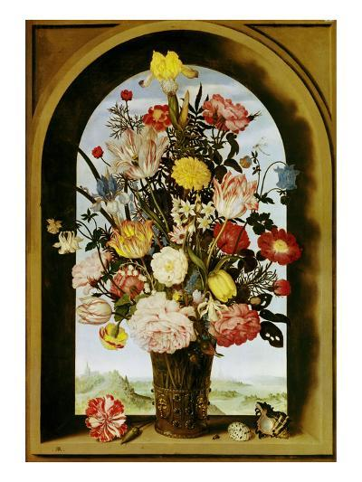 Vase with Flowers in a Window, about 1618-Ambrosius Bosschaert-Giclee Print