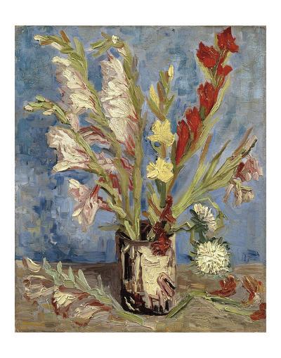 Vase with Gladioli and China Asters, 1886-Vincent van Gogh-Art Print