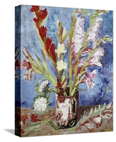 Vase with Gladioli-Vincent van Gogh-Brushstroked Canvas