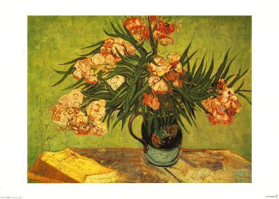 Vase with Oleanders and Books, c.1888-Vincent van Gogh-Art Print