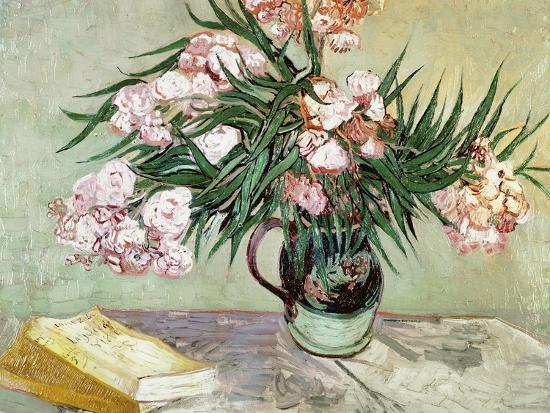 Vase with Oleanders and Books, c.1888-Vincent van Gogh-Giclee Print