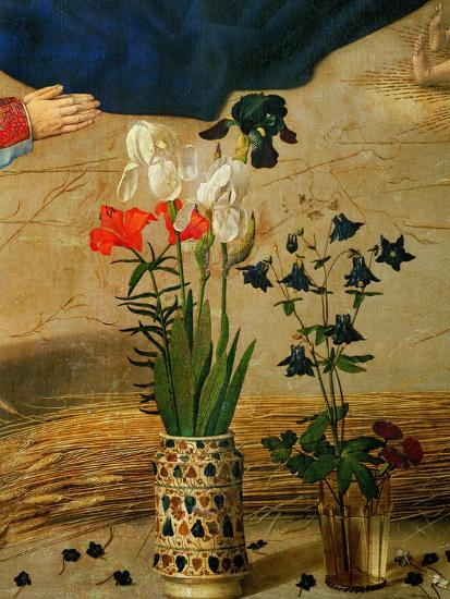 Vase with White, Red and Blue Lilies and Iris, Another with Seven Columbines-Hugo van der Goes-Giclee Print
