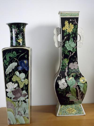 Vases Decorated with Flowers, Famille Noir--Giclee Print