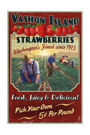 Vashon Island, WA - Strawberry Farm - Vintage Sign-Lantern Press-Art Print
